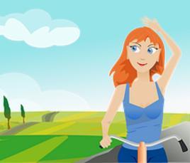 Frau beim Radfahren