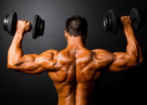 Mann beim Muskelaufbau mit Hanteln