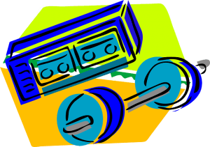 Radio mit Hantel